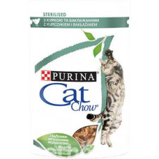 CAT CHOW Sterilized. Для стерилизованных котов. С курицей и баклажанами в желе