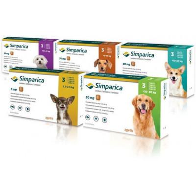 купити Simparica (Сімпаріка) засіб від бліх і кліщів для собак, ціна вказана за 1 упаковку (3 таблетки) в Одеси