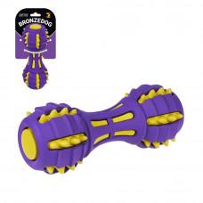 Bronzedog Jumble Звукова гантель 17,5 см іграшка для собак фіолетово-жовта