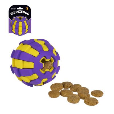 купити Bronzedog Jumble Двошаровий м'яч фіолетово-жовтий іграшка для собак в Одеси
