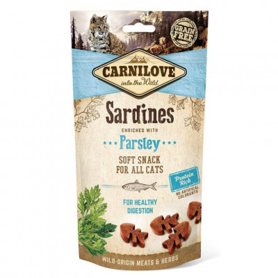 купити Carnilove Sardine with Parsley напівм'які ласощі для кішок з сардинами і петрушкою для чутливого травлення 50 г в Одеси