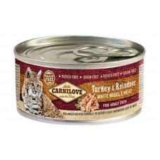 Carnilove (Карнилав) Turkey & Reindeer for Adult Cats влажный корм с индейкой и олениной для взрослых котов, 100 гр