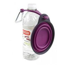 Dexas Дорожня складна миска з кріпленням на пляшку і карабіном для собак і кішок