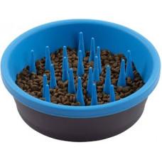 DEXAS Миска силіконова Слоу Фід для повільного годування 1,44 л (темно-сіра/блакитна)