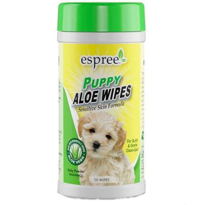 купити Espree (Еспрі) Puppy Aloe Wipes Вологі серветки для очищення чутливої шкіри та шерсті цуценят в Одеси