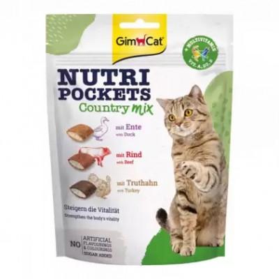 купити GimCat Nutri Pockets Country Mix Подушечки для котів з качкою, яловичиною та індичкою 150 г в Одеси