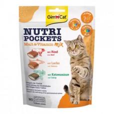 GimCat Nutri Pockets Malt-Vitamin Mix Подушечки cолод-вітамінний мікс для котів 150г
