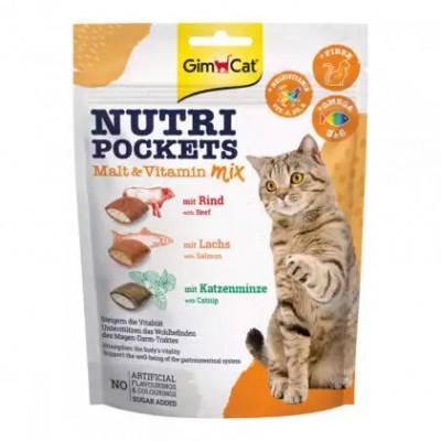 купити GimCat Nutri Pockets Malt-Vitamin Mix Подушечки cолод-вітамінний мікс для котів 150г в Одеси
