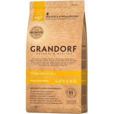 Grandorf 4 Meat & Brown Rice Adult Mini - сухий корм 4 види м'яса для дорослих собак міні порід