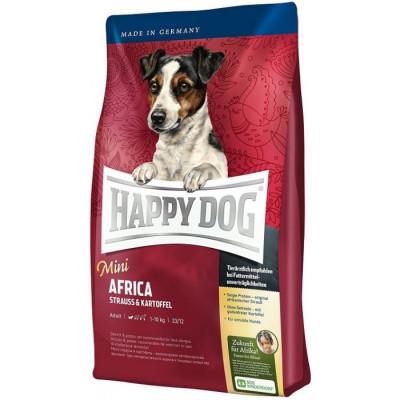 купити Happy Dog Mini Africa (без злаків) для собак дрібних порід при алергіях та харчовій непереносимості зі страусом та картопляними пластівцями в Одеси