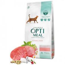 Optimeal (Оптимил) сухой корм для стерилизованных кошек и кастрированных котов говядина и сорго