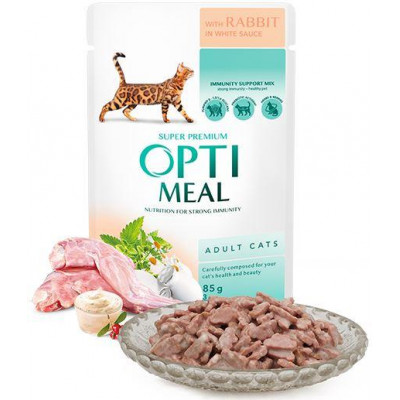 купити Optimeal (Оптіміл) вологий корм для дорослих котів з кроликом в білому соусі в Одеси