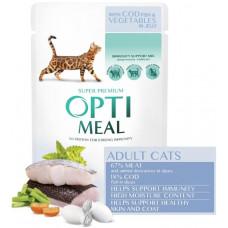 Optimeal (Оптіміл) вологий корм для дорослих котів  з тріскою та овочами в желе, 85 г