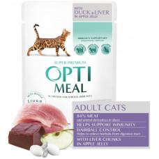 Optimeal (Оптіміл) вологий корм для дорослих кішок з ефектом виведення шерсті, з качкою і печінкою в яблучному желе, 85 г