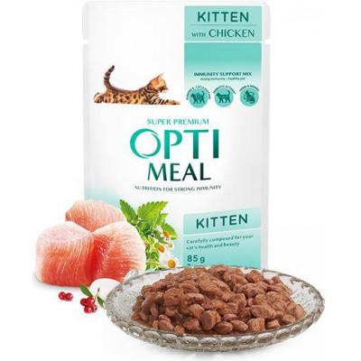 купити Optimeal (Оптіміл) вологий корм для кошенят з куркою в Одеси