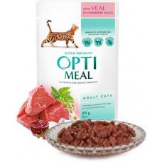 Optimeal (Оптіміл) вологий корм для дорослих котів з телятиною в журавлинному соусі