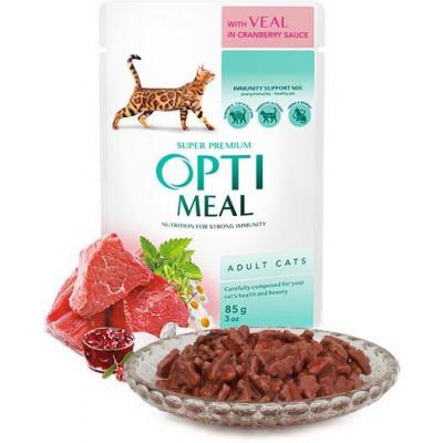 купити Optimeal (Оптіміл) вологий корм для дорослих котів з телятиною в журавлинному соусі в Одеси