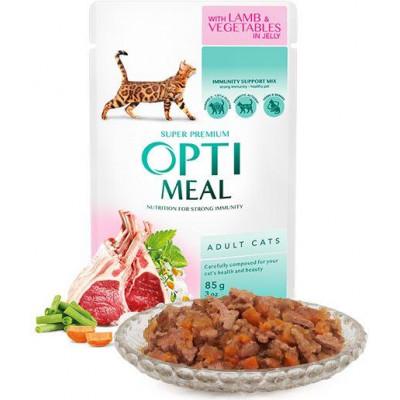 купити Optimeal (Оптіміл) вологий корм для дорослих кішок з ягням і овочами в желе в Одеси