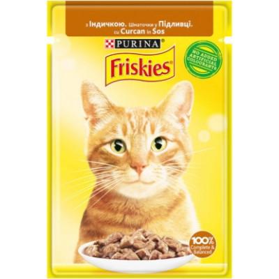 Friskies для кошек с индейкой кусочки в подливе, 85 гр