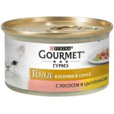 Gourmet Gold (Гурме Голд) Кусочки в подливке с лососем и цыпленком, 85г