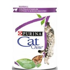 Cat Chow Hairball. Против образования комков шерсти. С курицей и зеленой фасолью в желе