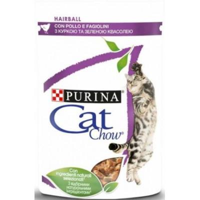 купити Cat Chow Hairball Консерви для виведення шерсті у кішок з куркою і зеленою квасолею в желе в Одеси