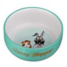 Trixie (Тріксі) Миска керамічна з малюнком Honey & Hopper, 250 мл/11 см