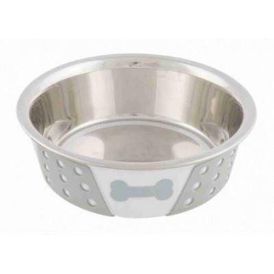 Trixie (Тріксі) Миска металева з силіконовим покриттям 0,4л / 14см біла / сіра для собак