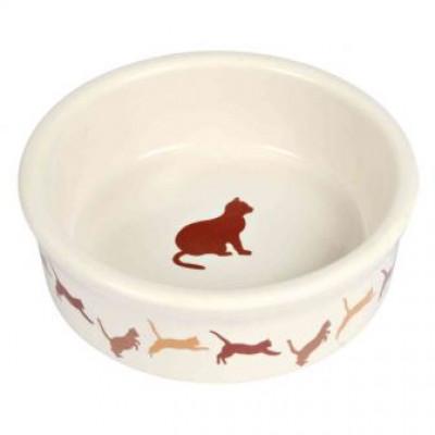 Тріксі (Trixie) миска кераміка для котів 0,25л / 11см, з малюнком