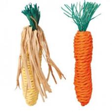 """Trixie (Тріксі) Набір іграшок для гризунів """"Морква і Кукурудза"""", 15 см, сизаль, 2 шт."""