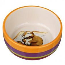 Trixie (Трикси) Миска керамическая для кроликов, 250 мл/ø 11 см, разноцветная/кремовая