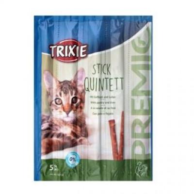 """Trixie (Тріксі) Палички """"PREMIO Quadro-Sticks"""" домашня птиця / печінку для котів 5шт * 5гр"""