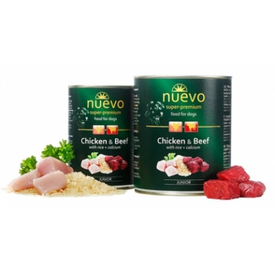 купити NUEVO JUNIOR влажный корм для щенков с курицей, говядиной и рисом + кальций, 800гр в Одеси