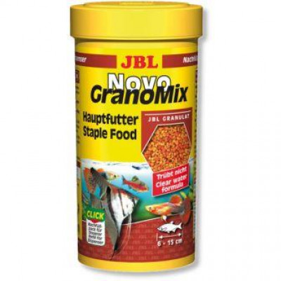JBL NovoGranoMix основной корм для средних и больших аквариумных рыб, 250 мл