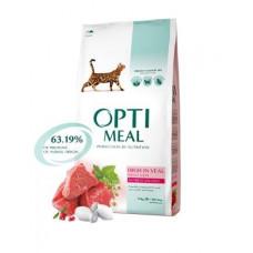 Optimeal (Оптіміл) сухий корм для дорослих котів з високим вмістом телятини