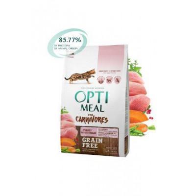 Optimeal (Оптимил) беззерновой сухой корм для взрослых кошек индейка с овощами