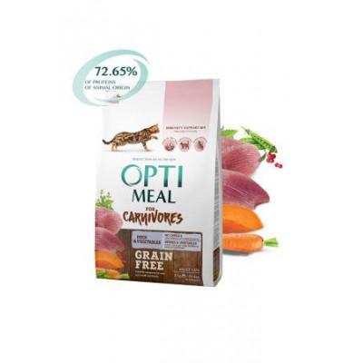 купити Optimeal (Оптимил) беззерновой сухой корм для взрослых кошек утка с овощами в Одеси