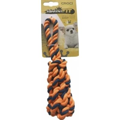 Croci плетеная кость из каната(оранжевый),ткань,19 см
