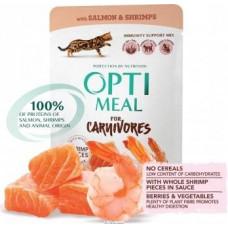 Optimeal (Оптима) беззерновой вологий корм для кішок лосось з креветками в соусі 85 г