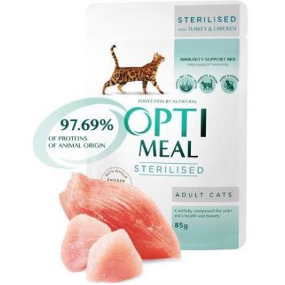 купити Optimeal (Оптіміл) вологий корм для стерилізованих кішок індичка з курячим філе в соусі в Одеси