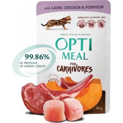 Optimeal (Оптимил) беззерновой влажный корм для кошек ягненок,куриное филе в тыквенном желе 85 г