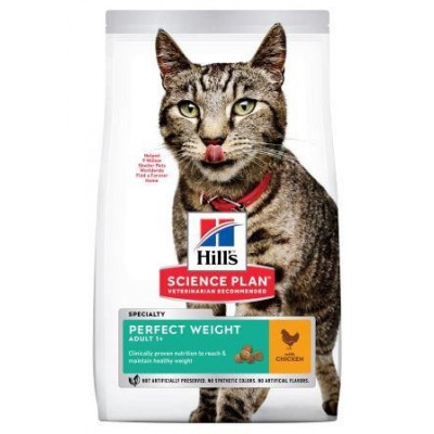 Hill`s (Хиллс) NEW Science Plan Perfect Weight Идеальный вес, сухой корм для кошек склонных к полноте (курица)