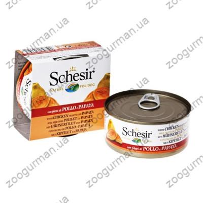Schesir КУРИЦА С ПАПАЙЕЙ (Chicken Papaya) влажный корм консервы для собак, банка , 0.15 кг.