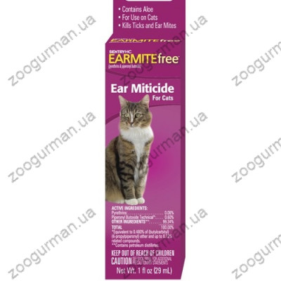 SENTRY EARMITE free СЕНТРИ БЕЗ УШНОГО КЛЕЩА капли с алоэ против ушного клеща для котов , 0.029 л.