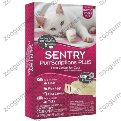 SENTRY PurrScriptions Plus СЕНТРИ ПУРРСКРИПШНС ПЛЮС ошейник от блох и клещей для кошек, 6 месяцев защиты , 32 см