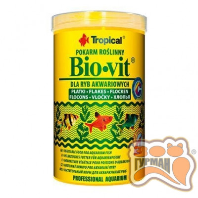Tropical Bio-vit 250мл(хлопья)растит. корм для всех видов рыб 77014