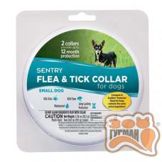 SENTRY Flea&Tick Small СЕНТРИ ошейник от блох и клещей для собак малых пород, 6 месяцев защиты, 36 см, 2 шт