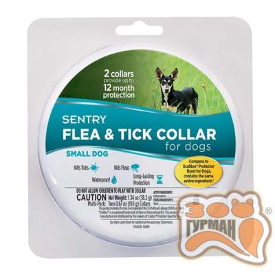 купити SENTRY Flea&Tick Small СЕНТРИ ошейник от блох и клещей для собак малых пород, 6 месяцев защиты, 36 см, 2 шт в Одеси