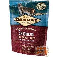 Carnilove Cat Salmon Sensitive & LongHair с лососем для взрослых кошек с чувствительным пищеварением
