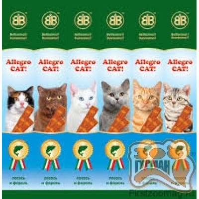 Allegro Cat мясные палочки с лососем и форелью для кошек